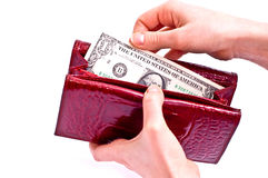 Hand and one dollar Royalty Free Stock Photo