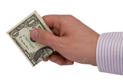 Hand with one dollar Royalty Free Stock Images