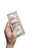 Hand with one dollar bill royalty free stock photography