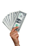 Hand with one dollar bills Royalty Free Stock Photography