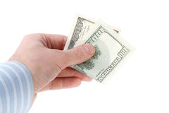 Hand with a one hundred dollars Stock Photography