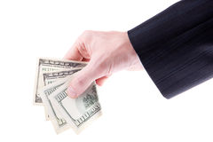 Hand with a one hundred dollars Stock Image