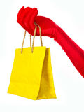 Hand with one shopping bag Royalty Free Stock Images