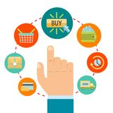 Hand with online shopping icons Royalty Free Stock Photos
