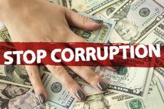Hand op contant geld financiën corruptie royalty-vrije stock foto's