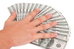 Hand op de dollars royalty-vrije stock foto