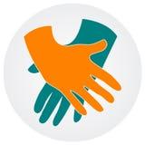 Hand op een hand stock illustratie