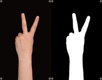 Hand op een zwarte achtergrond en een masker Stock Afbeelding