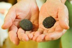 Hand op stenen royalty-vrije stock foto's