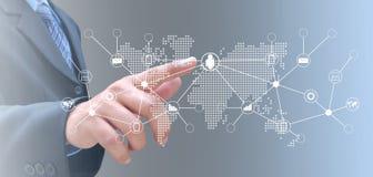 Hand op technologie stock afbeelding