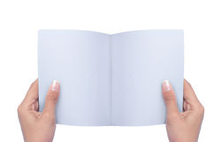 Hand open blank book Royalty Free Stock Photo