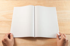 Hand open blank book or magazines Royalty Free Stock Images