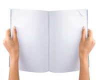 Hand open blank magazine royalty free stock photography