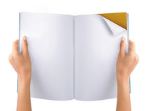 Hand open blank magazine royalty free stock image