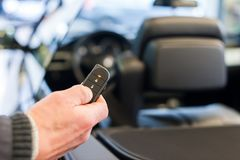 Hand open car with wireless key stock photo
