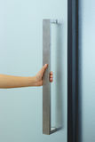 Hand open door. Frosted glass Royalty Free Stock Images