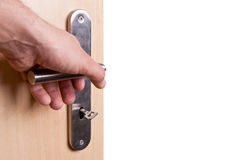 Hand open door Royalty Free Stock Photography