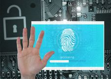 Hand open and Identity Verify security fingerprint App Interface Stock Photo