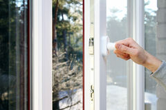 Free Hand Open Plastic Window Stock Photography - 37145722