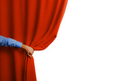 Hand open red curtain Royalty Free Stock Photography