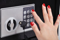 Hand opened bank safe Stock Photos