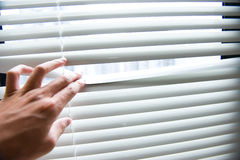 Hand opening blinds Stock Photo