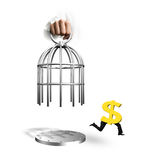 Hand opening cage and dollar sign with human legs running Royalty Free Stock Image