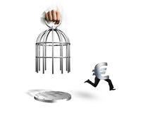Hand opening cage and Euro symbol with human legs running Royalty Free Stock Photos