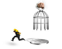 Hand opening cage and man carrying Euro symbol running Stock Image