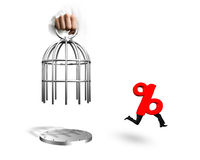Hand opening cage and percentage sign with human legs running Stock Images