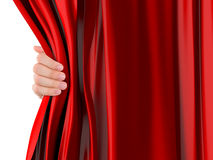 Hand Opening Curtain Royalty Free Stock Photo