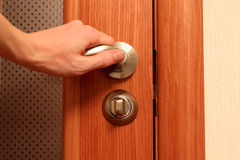 The hand opening a door Royalty Free Stock Photos