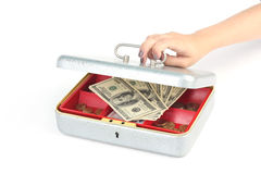 Hand opening money box on white. Hand closing box with dollars on white background Stock Images