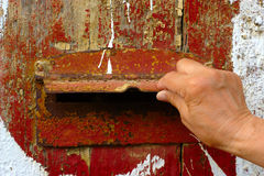 Hand Opening Old Mailbox Royalty Free Stock Photo