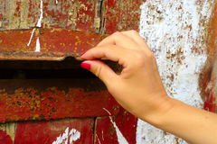 Hand Opening Old Mailbox Royalty Free Stock Images