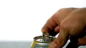 Hand opening a soda can Royalty Free Stock Photos