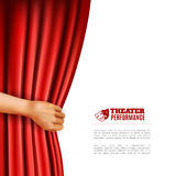 Hand Opening Theatre Curtain Illustration Stock Image