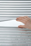 Hand opening venetian blinds for peeking Royalty Free Stock Photo
