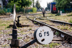 Hand Operated Railroad Switch Near Haydarpasa Stock Photography