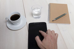 Hand operates with tablet PC Royalty Free Stock Photography