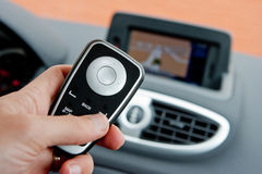 Hand operating gps system Stock Images