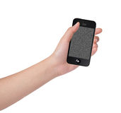 Hand operating on Smart Phone on white background Royalty Free Stock Photos