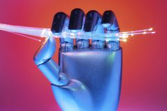 Hand with Optical Fibres. With Red Background royalty free stock image