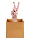 Hand out of the box indicates that all is well Royalty Free Stock Image