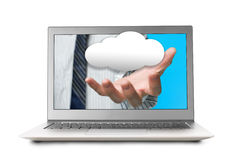 Hand out from laptop screen with cloud Royalty Free Stock Image
