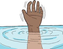 Hand Out of Water. Single human hand waving from under water Stock Image