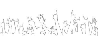 Hands Isolate Outline. Hand outline raised in the air at a concert Royalty Free Stock Images