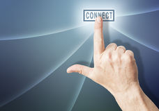 Hand over connect button Royalty Free Stock Photos