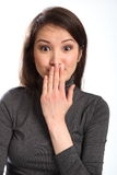 Hand over mouth funny moment expression Stock Photography