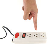 Hand over the power strip Stock Image